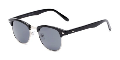 Angle of Whistler #324 in Black/Silver Frame with Grey Lenses, Women's and Men's Browline Sunglasses