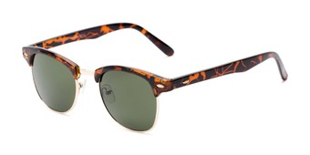 Angle of Whistler #324 in Brown Tortoise/Gold Frame with Green Lenses, Women's and Men's Browline Sunglasses