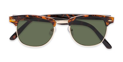 Folded of Whistler #324 in Brown Tortoise/Gold Frame with Green Lenses