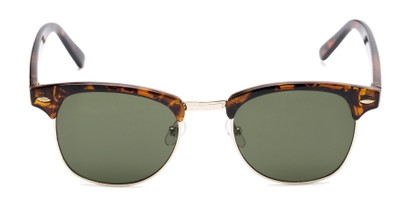 Front of Whistler #324 in Brown Tortoise/Gold Frame with Green Lenses
