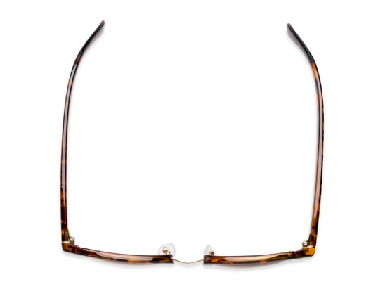 Overhead of Whistler #324 in Brown Tortoise/Gold Frame with Amber Lenses