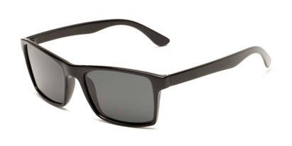 Angle of Whitford #6045 in Glossy Black Frame with Smoke Lenses, Men's Square Sunglasses