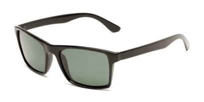 Angle of Whitford #6045 in Glossy Black Frame with Green Lenses, Men's Square Sunglasses