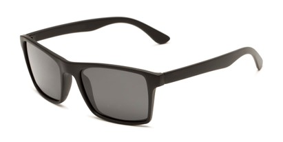 Angle of Whitford #6045 in Matte Black Frame with Smoke Lenses, Men's Square Sunglasses