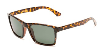 Angle of Whitford #6045 in Glossy Tortoise Frame with Green Lenses, Men's Square Sunglasses