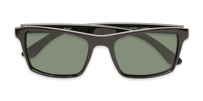 Folded of Whitford #6045 in Glossy Black Frame with Green Lenses