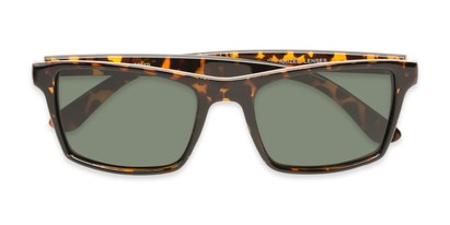 Folded of Whitford #6045 in Glossy Tortoise Frame with Green Lenses
