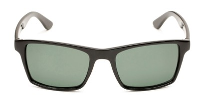 Front of Whitford #6045 in Glossy Black Frame with Green Lenses