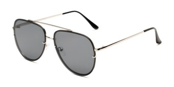 Angle of Wilder #4772 in Silver Frame with Smoke Lenses, Women's and Men's Aviator Sunglasses