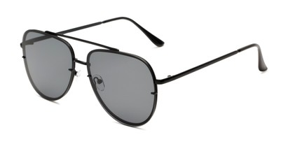 Angle of Wilder #4772 in Black Frame with Smoke Lenses, Women's and Men's Aviator Sunglasses