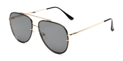 Angle of Wilder #4772 in Gold Frame with Smoke Lenses, Women's and Men's Aviator Sunglasses