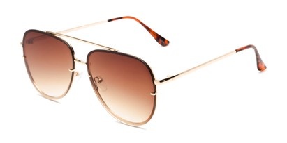 Angle of Wilder #4772 in Gold Frame Amber Gradient Lenses, Women's and Men's Aviator Sunglasses
