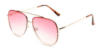 Angle of Wilder #4772 in Gold Frame with Pink Gradient Lenses, Women's and Men's Aviator Sunglasses