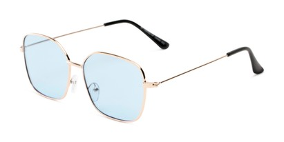 Angle of Willamette #17260 in Gold Frame with Blue Lenses, Women's Square Sunglasses