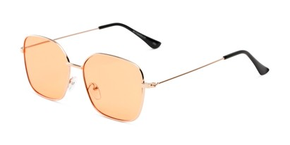 Angle of Willamette #17260 in Gold Frame with Living Coral Lenses, Women's Square Sunglasses