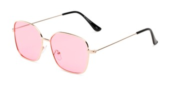 Angle of Willamette #17260 in Gold Frame with Pink Lenses, Women's Square Sunglasses