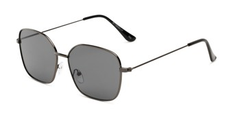 Angle of Willamette #17260 in Black Frame with Dark Smoke Lenses, Women's Square Sunglasses