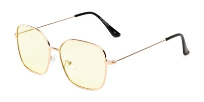 Angle of Willamette #17260 in Gold Frame with Yellow Lenses, Women's Square Sunglasses