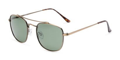 Angle of Wilson #2202 in Dark Gold Frame with Green Lenses, Women's and Men's Square Sunglasses