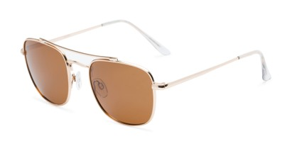Angle of Wilson #2202 in Gold Frame with Amber Lenses, Women's and Men's Square Sunglasses