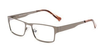 Angle of Wilson #2202 in Grey Frame with Grey Lenses, Women's and Men's Square Sunglasses
