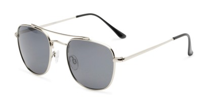 Angle of Wilson #2202 in Silver Frame with Grey Lenses, Women's and Men's Square Sunglasses