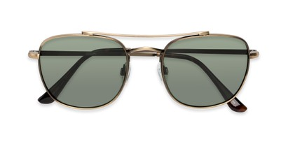 Folded of Wilson #2202 in Dark Gold Frame with Green Lenses