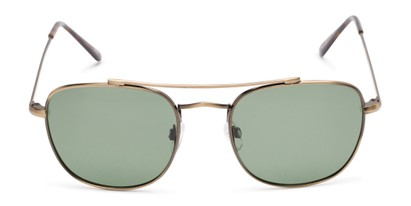 Front of Wilson #2202 in Dark Gold Frame with Green Lenses