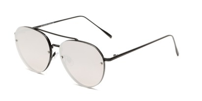 Angle of Wright #27075 in Black Frame with Silver Mirrored Lenses, Women's and Men's Aviator Sunglasses