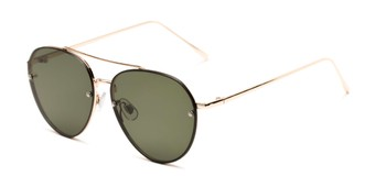 Angle of Wright #27075 in Gold Frame with Green Lenses, Women's and Men's Aviator Sunglasses