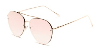 Angle of Wright #27075 in Gold Frame with Pink Mirrored Lenses, Women's and Men's Aviator Sunglasses