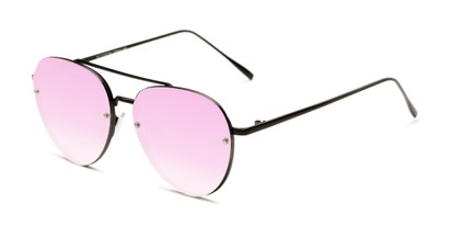 Angle of Wright #27075 in Black Frame with Purple Mirrored Lenses, Women's and Men's Aviator Sunglasses
