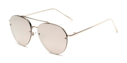 Angle of Wright #27075 in Silver Frame with Silver Mirrored Lenses, Women's and Men's Aviator Sunglasses