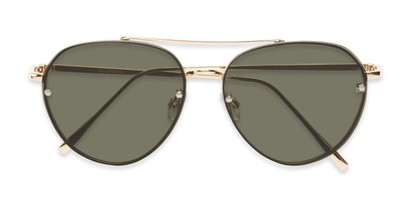 Folded of Wright #27075 in Gold Frame with Green Lenses