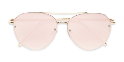 Folded of Wright #27075 in Gold Frame with Pink Mirrored Lenses