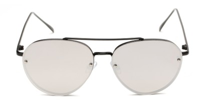 Front of Wright #27075 in Black Frame with Silver Mirrored Lenses