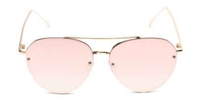 Front of Wright #27075 in Gold Frame with Pink Mirrored Lenses