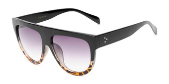Angle of Wyatt #1614 in Black/Tortoise Frame with Smoke Gradient Lenses, Women's and Men's Aviator Sunglasses