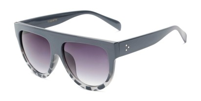 Angle of Wyatt #1614 in Grey/White Frame with Smoke Gradient Lenses, Women's and Men's Aviator Sunglasses
