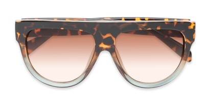 Folded of Wyatt #1614 in Tortoise/Blue Frame With Amber Gradient Lenses
