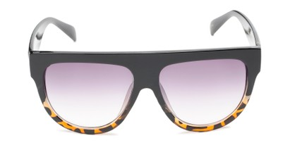 Front of Wyatt #1614 in Black/Tortoise Frame with Smoke Gradient Lenses