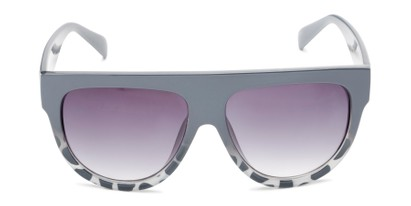 Front of Wyatt #1614 in Grey/White Frame with Smoke Gradient Lenses
