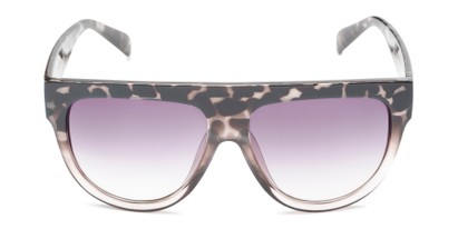 Front of Wyatt #1614 in White Tortoise/Clear Frame with Smoke Gradient Lenses