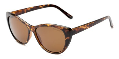 Angle of Yuma #1066 in Tortoise Frame with Amber Lenses, Women's Cat Eye Sunglasses