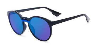 Angle of Zoey #97014 in Black Frame with Blue Mirrored Lenses, Women's Round Sunglasses