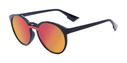 Angle of Zoey #97014 in Black Frame with Red/Orange Mirrored Lenses, Women's Round Sunglasses