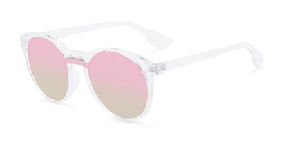Angle of Zoey #97014 in Clear Frame with Silver/Pink Mirrored Lenses, Women's Round Sunglasses