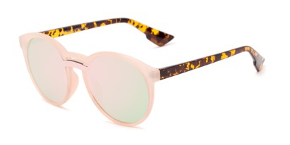 Angle of Zoey #97014 in Pink/Tortoise Frame with Pink Mirrored Lenses, Women's Round Sunglasses