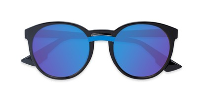 Folded of Zoey #97014 in Black Frame with Blue Mirrored Lenses