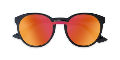 Folded of Zoey #97014 in Black Frame with Red/Orange Mirrored Lenses